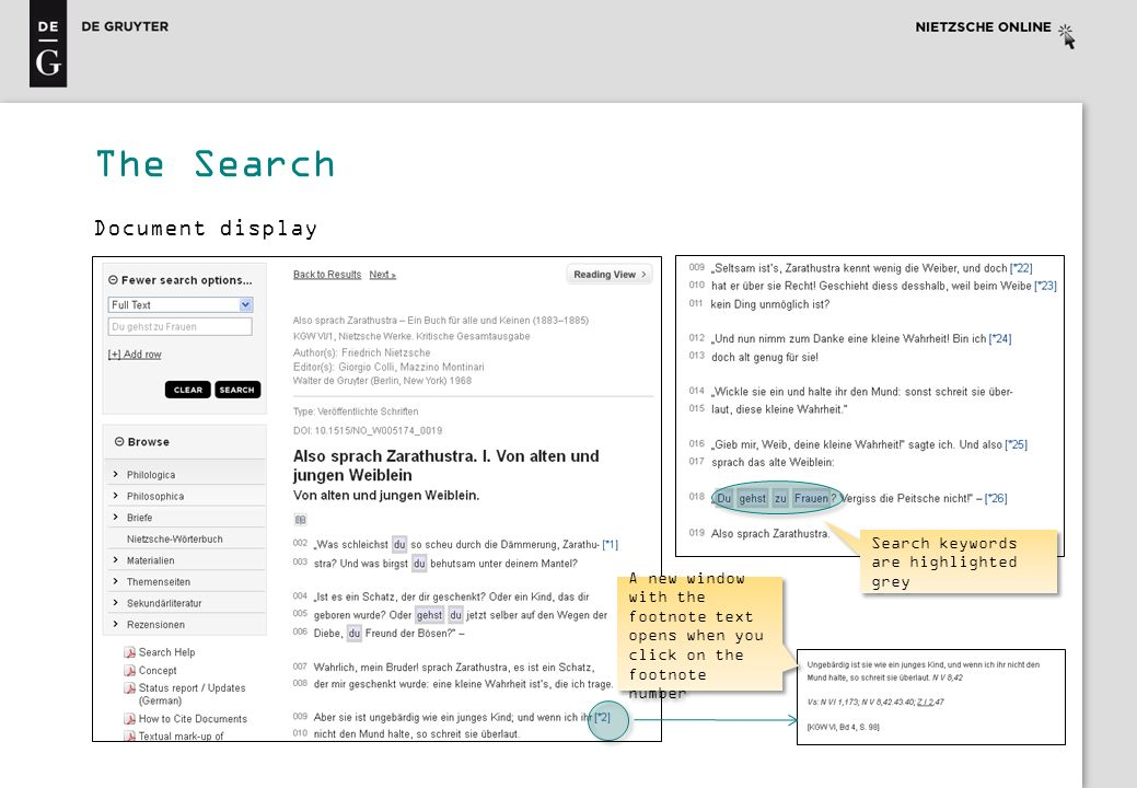 The Search Document display Search keywords are highlighted grey