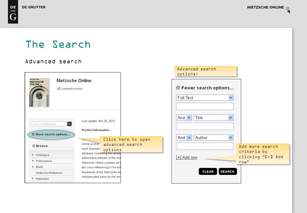 The Search Advanced search Advanced search options: