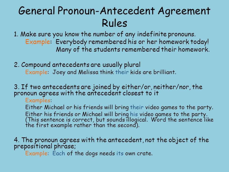 Free Worksheets Pronoun Antecedent Agreement Worksheet