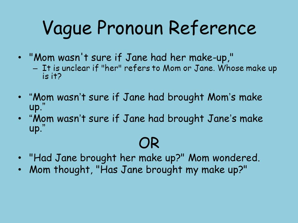 an introduction to vague pronoun references Using pronouns pronoun reference pronouns usually refer to other words, called their antecedents because they (should) come before the pronoun a pronoun's.