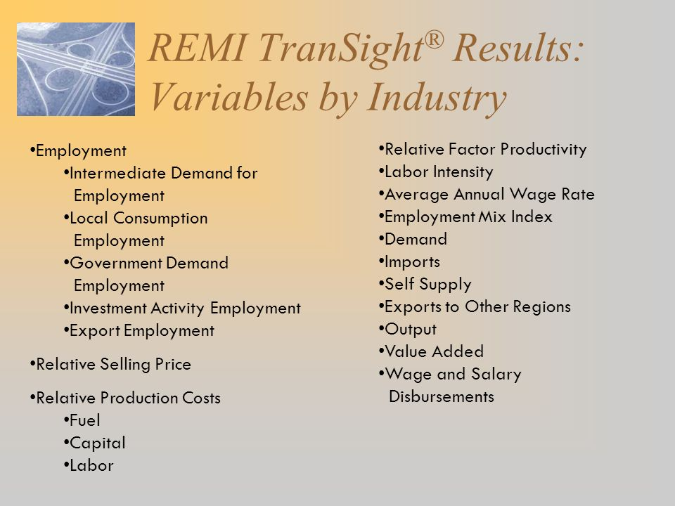 REMI TranSight® Results: Variables by Industry