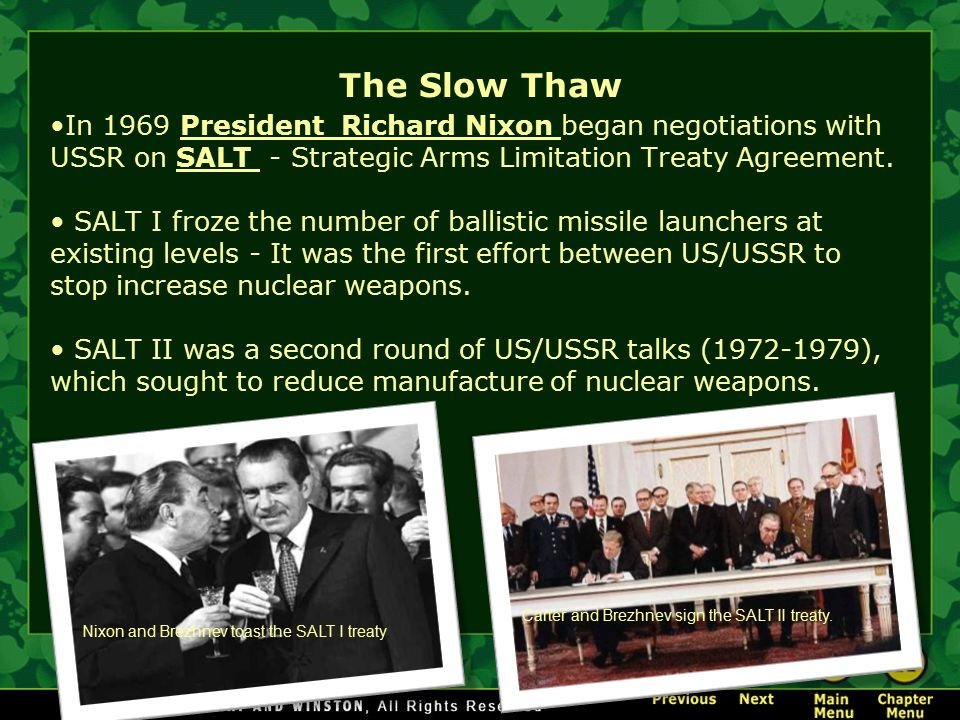 The cold war crash course video ppt download the slow thaw in 1969 president richard nixon began negotiations with ussr on salt strategic platinumwayz