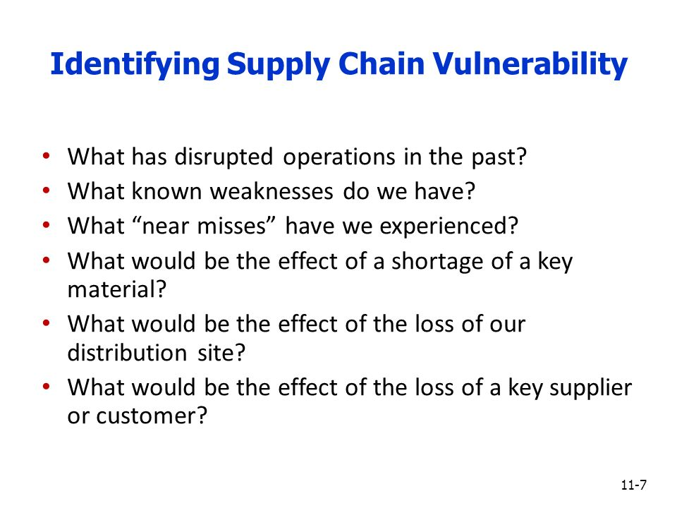 supply chain management and security vulnerability Supply chain risk management and the extend physical and logical security to electronic supply chain product nist ict supply chain risk management process.