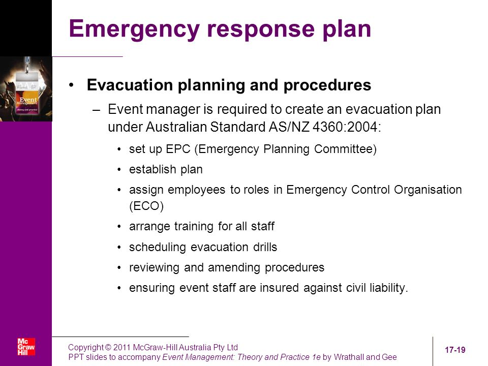 emergency evacuation procedures and eco Emergency response procedures inspect the emergency procedures and test for relevancy to the facility by conducting an evacuation exercise for a nominated incident covered by the emergency procedures.
