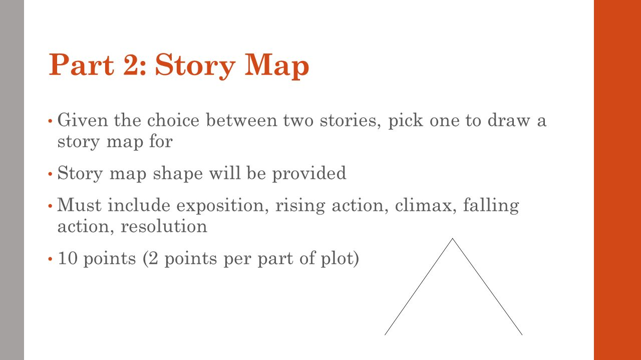 Part 2: Story Map Given the choice between two stories, pick one to draw a story map for. Story map shape will be provided.