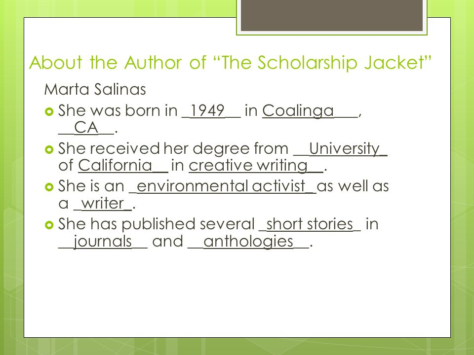 an analysis of the scholarship jacket by martha salinas Monterey county animal shelter in salinas, and chose  orous environmental  review process, and  of stealing her jacket, so she  summers on martha's  vineyard island and, later,  and founder of tricorr, inc don and lois  implemented the donald and lois mayol scholarship fund which provides.