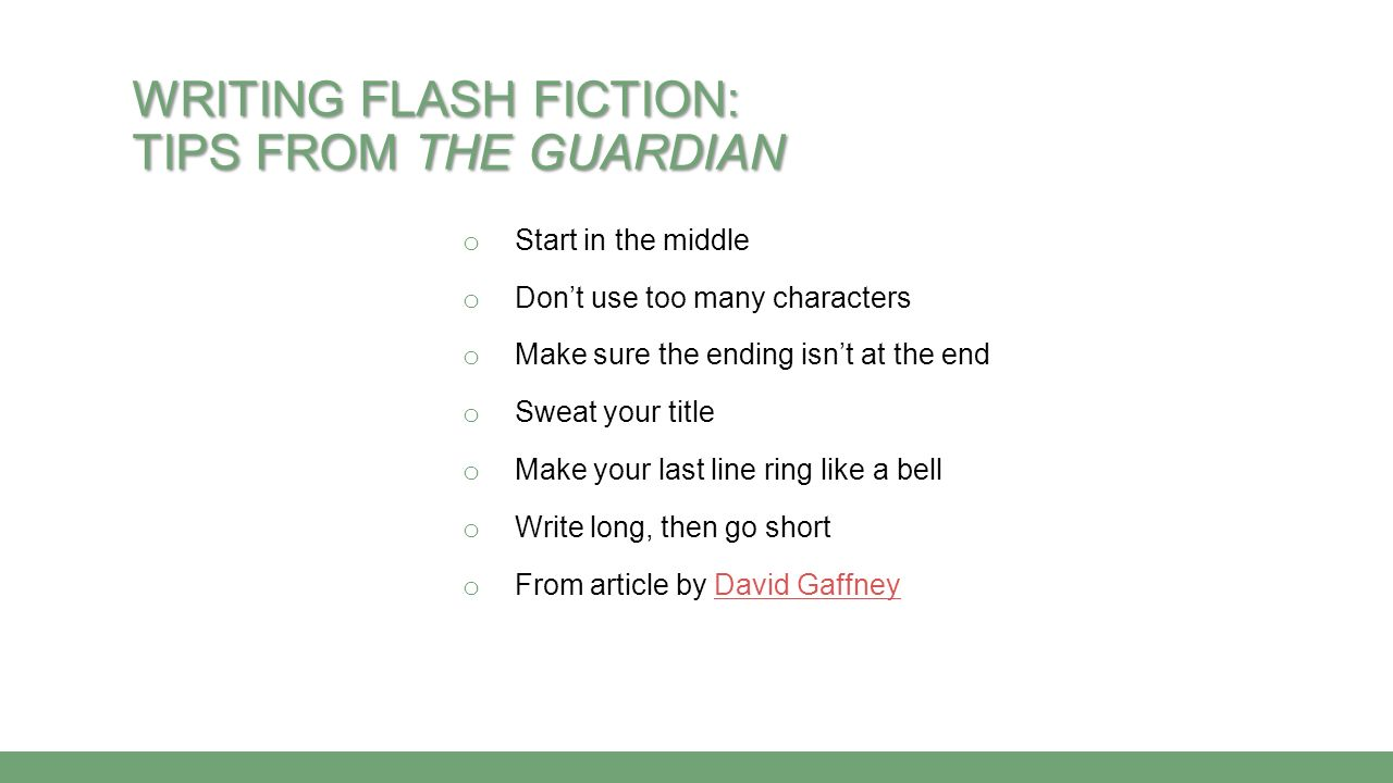Writing Flash Fiction: Tips from The Guardian