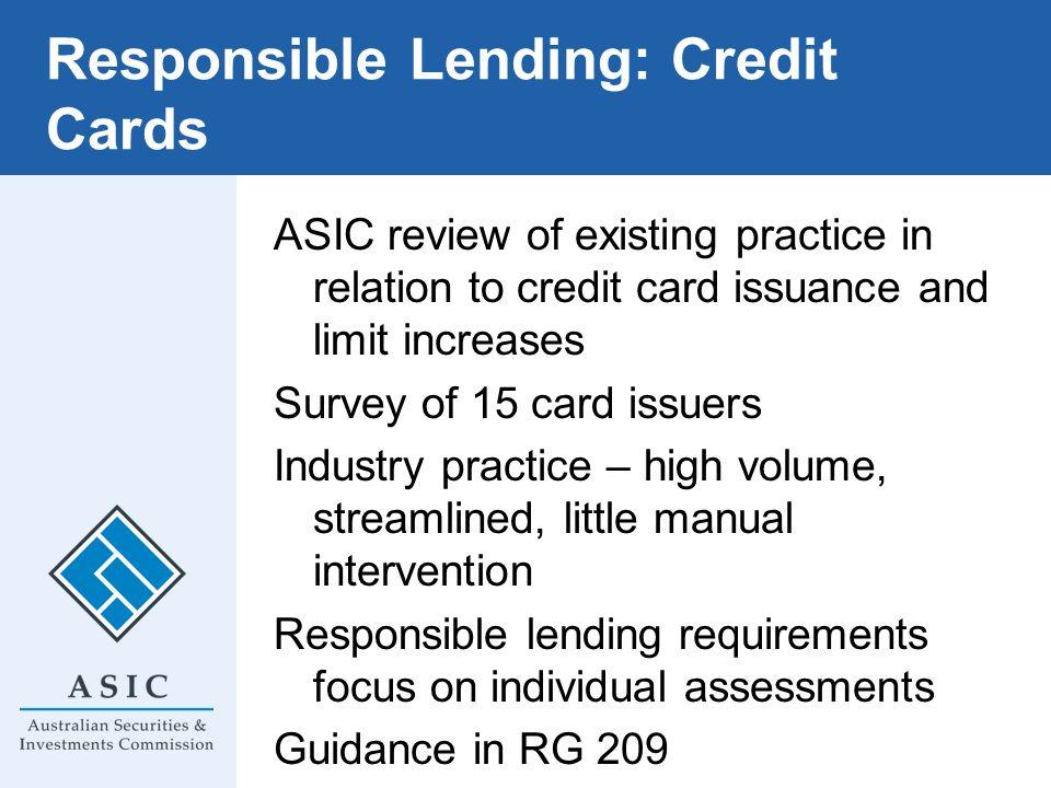 Responsible Lending: Credit Cards