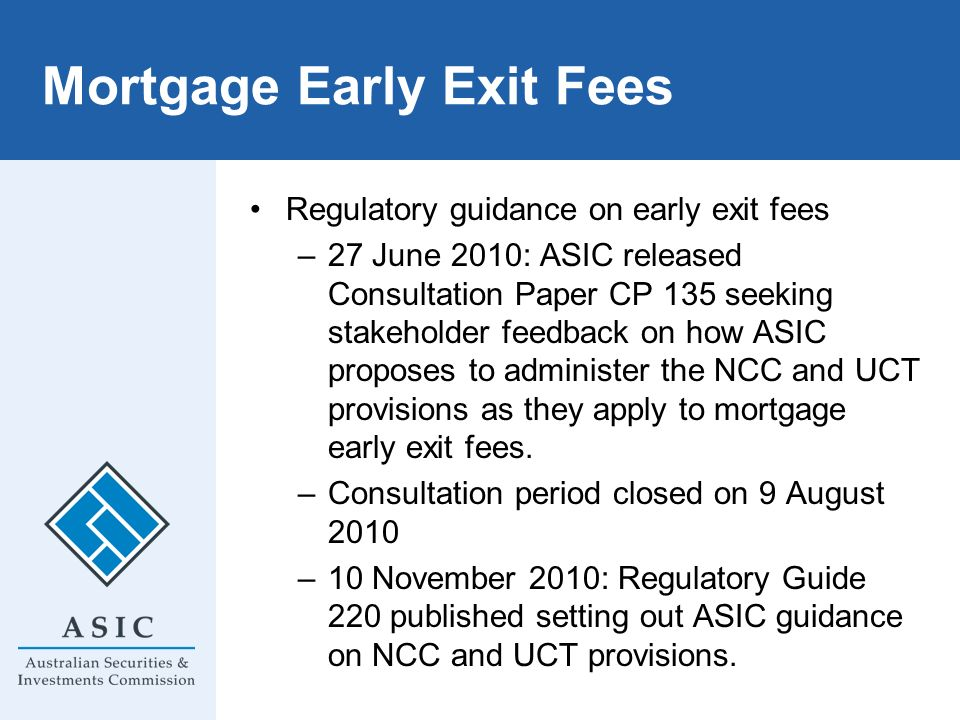 Mortgage Early Exit Fees