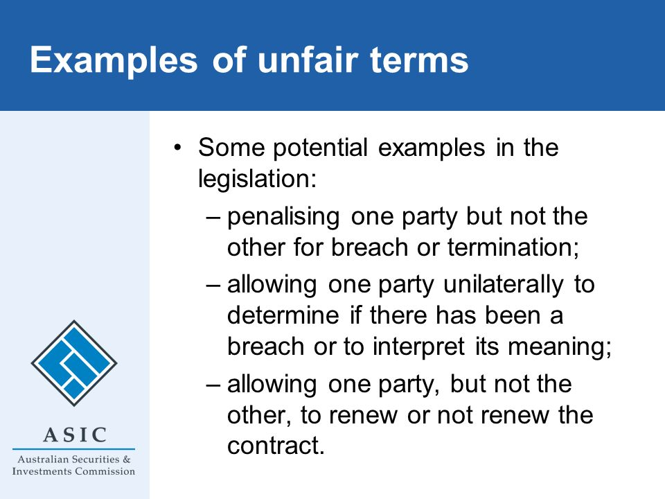 Examples of unfair terms
