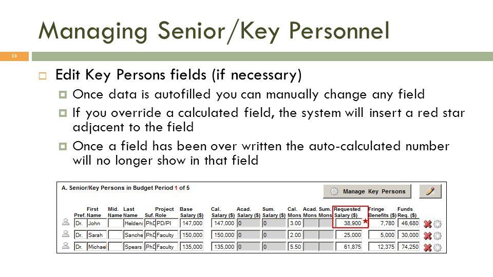 Managing Senior/Key Personnel