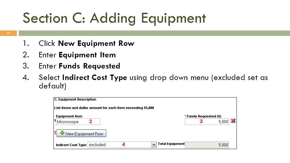 Section C: Adding Equipment
