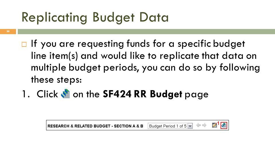 Replicating Budget Data