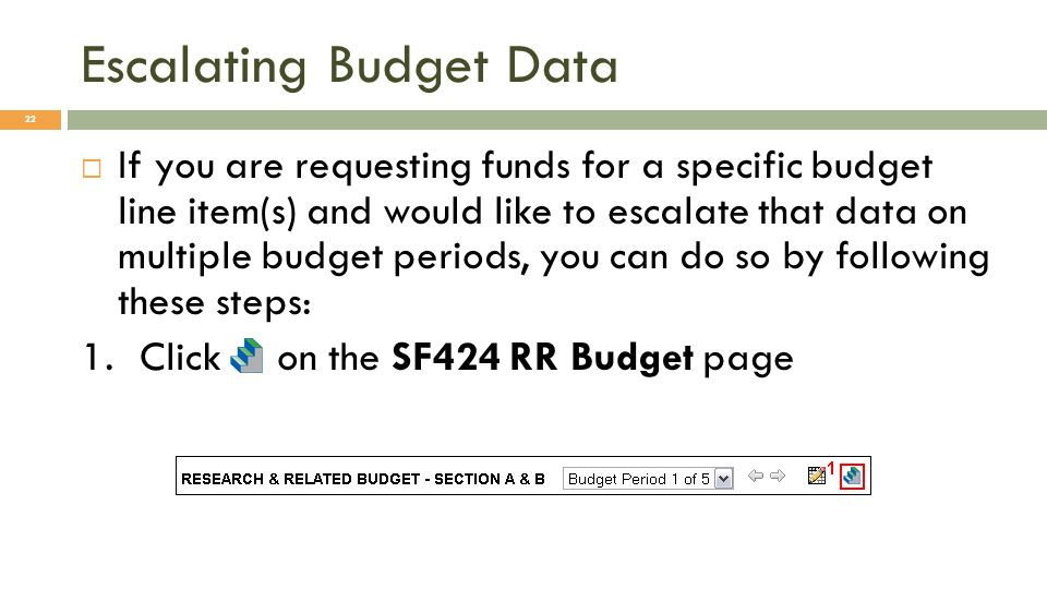 Escalating Budget Data