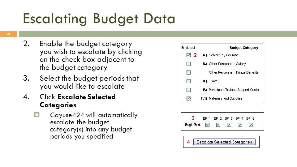 Escalating Budget Data