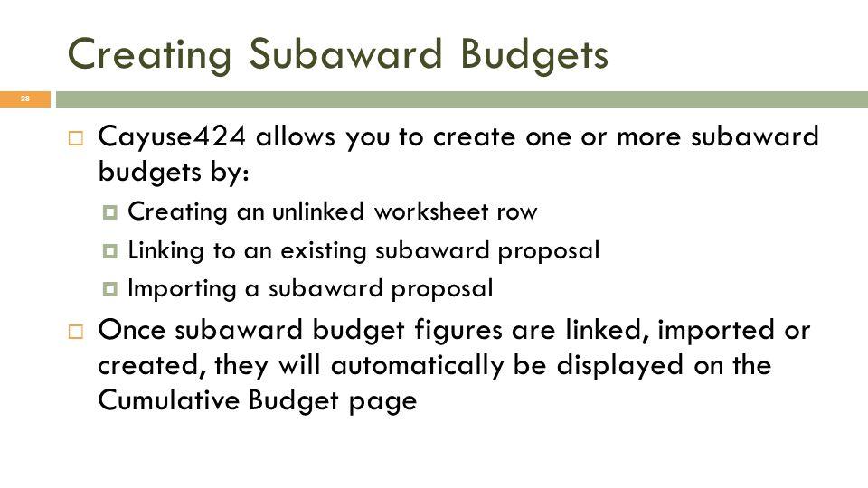 Creating Subaward Budgets