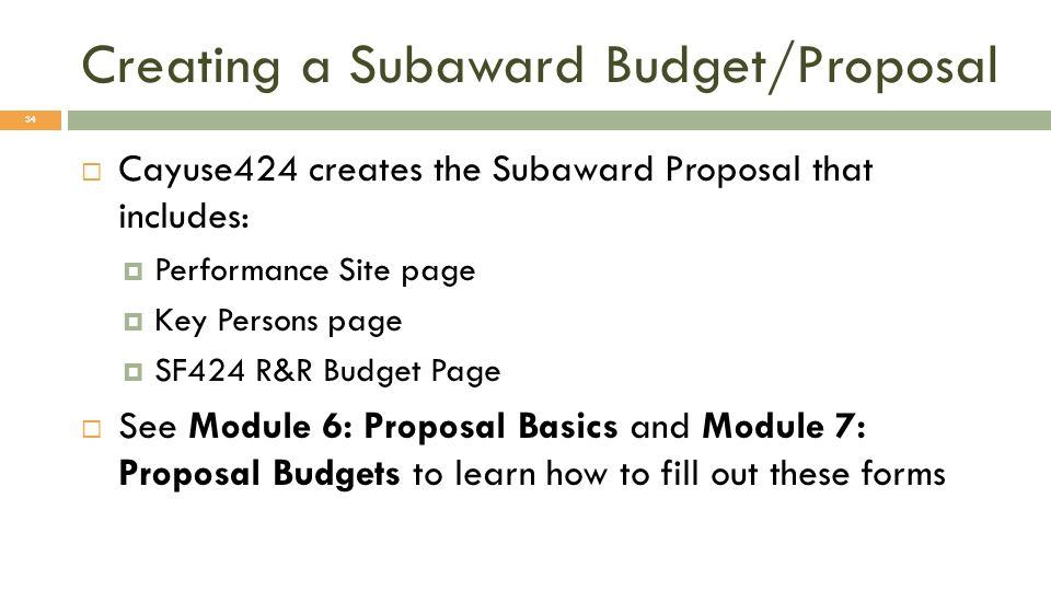 Creating a Subaward Budget/Proposal