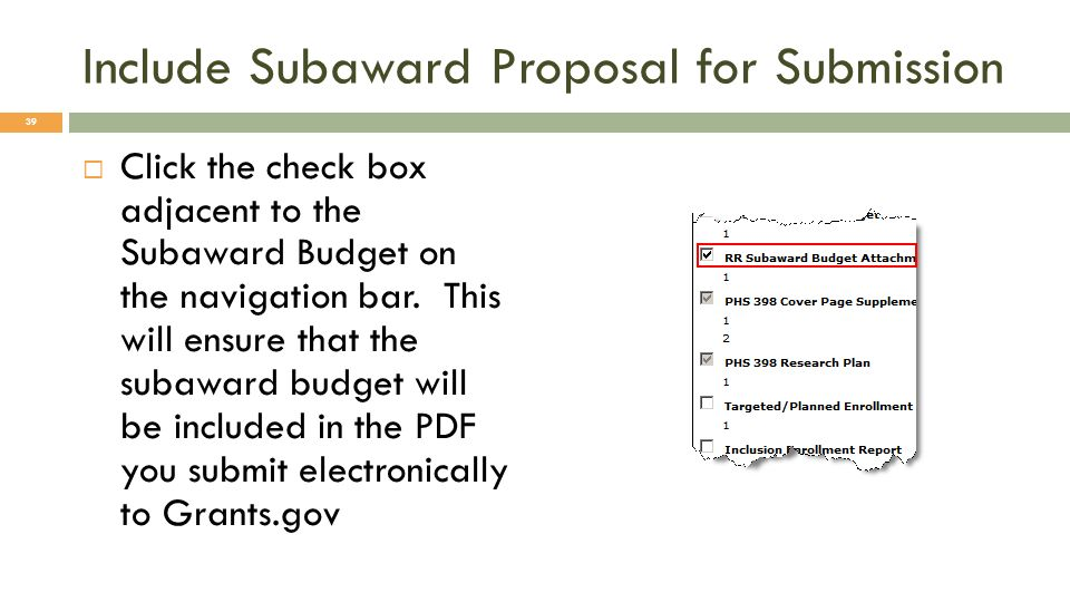 Include Subaward Proposal for Submission
