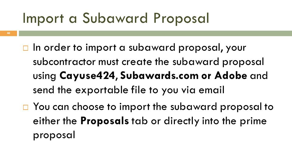 Import a Subaward Proposal