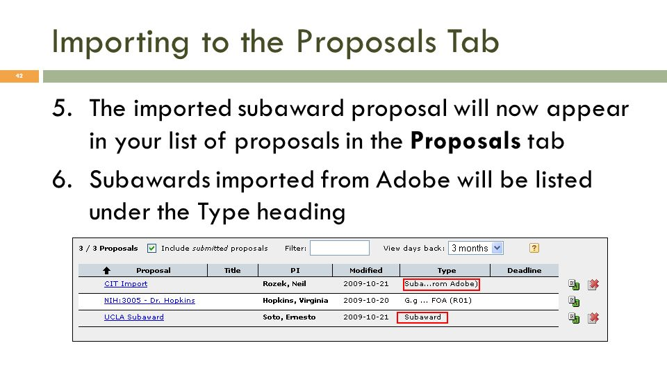 Importing to the Proposals Tab