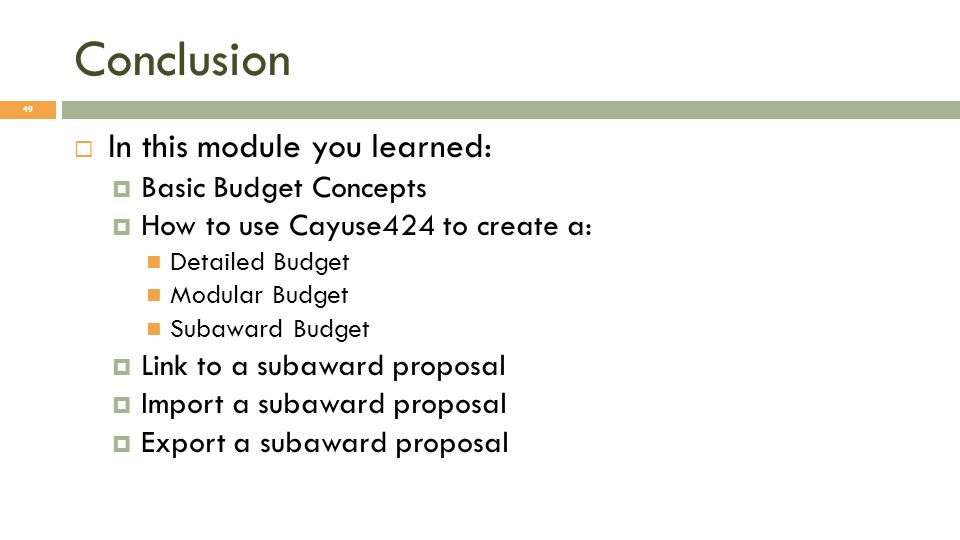 Conclusion In this module you learned: Basic Budget Concepts