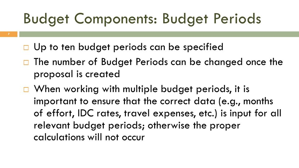 Budget Components: Budget Periods