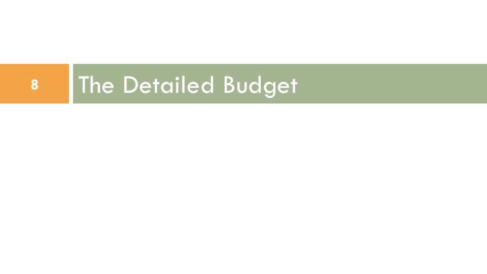 The Detailed Budget