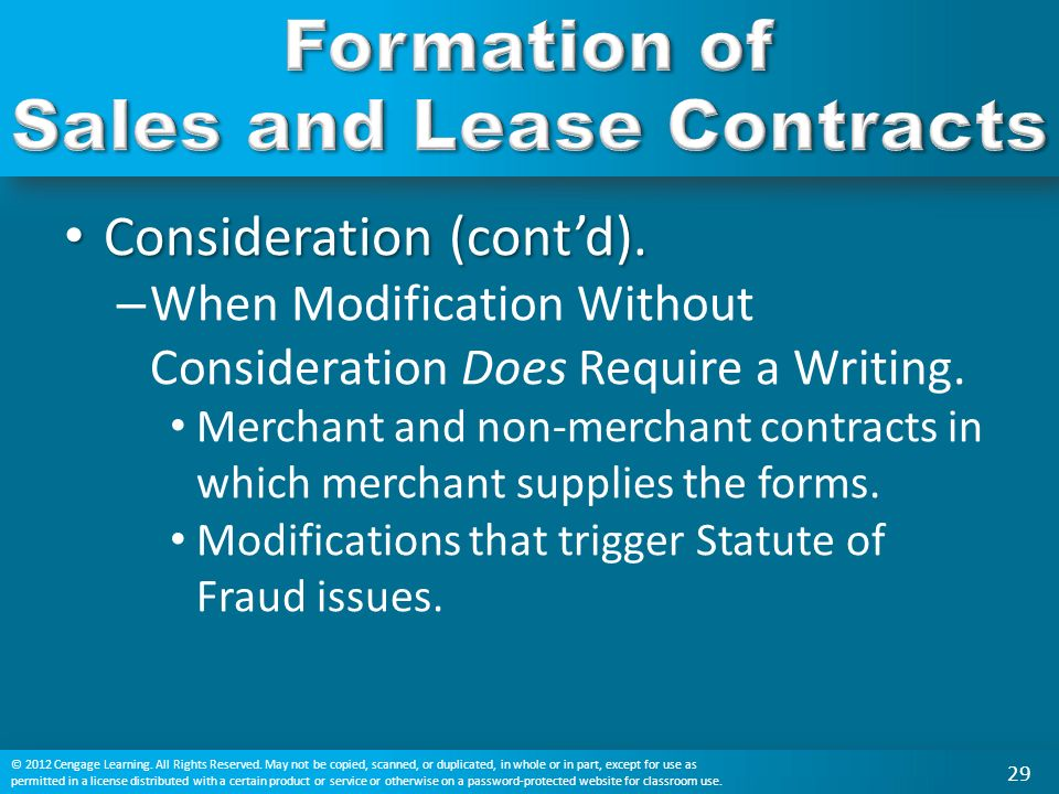 Formation Of Sales And Lease Contracts