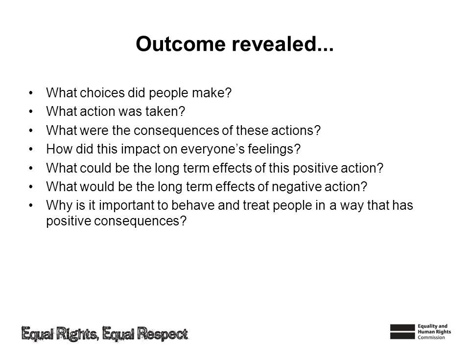 Outcome revealed... What choices did people make