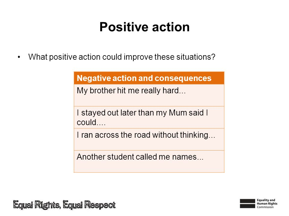 Positive action Negative action and consequences