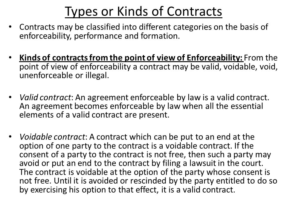 different types of option contracts There are several different types of contract that can be used, although the most common is the fixed-price type, which involves setting a fixed total price for a precisely defined product or service to be provided.