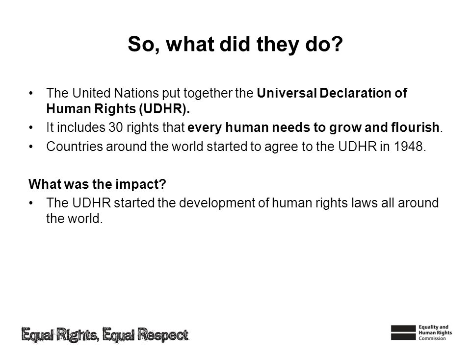 So, what did they do The United Nations put together the Universal Declaration of Human Rights (UDHR).