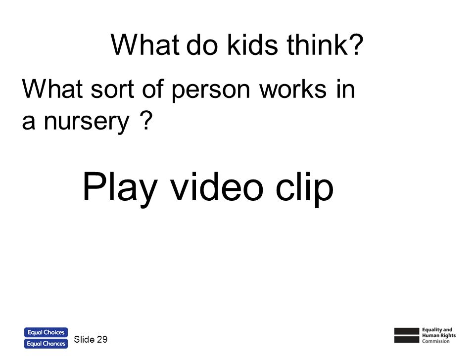 Play video clip What do kids think What sort of person works in