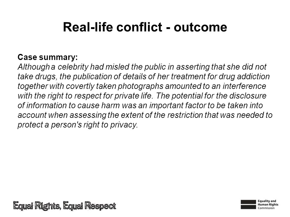 Real-life conflict - outcome