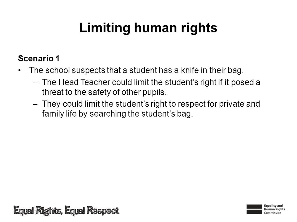 Limiting human rights Scenario 1