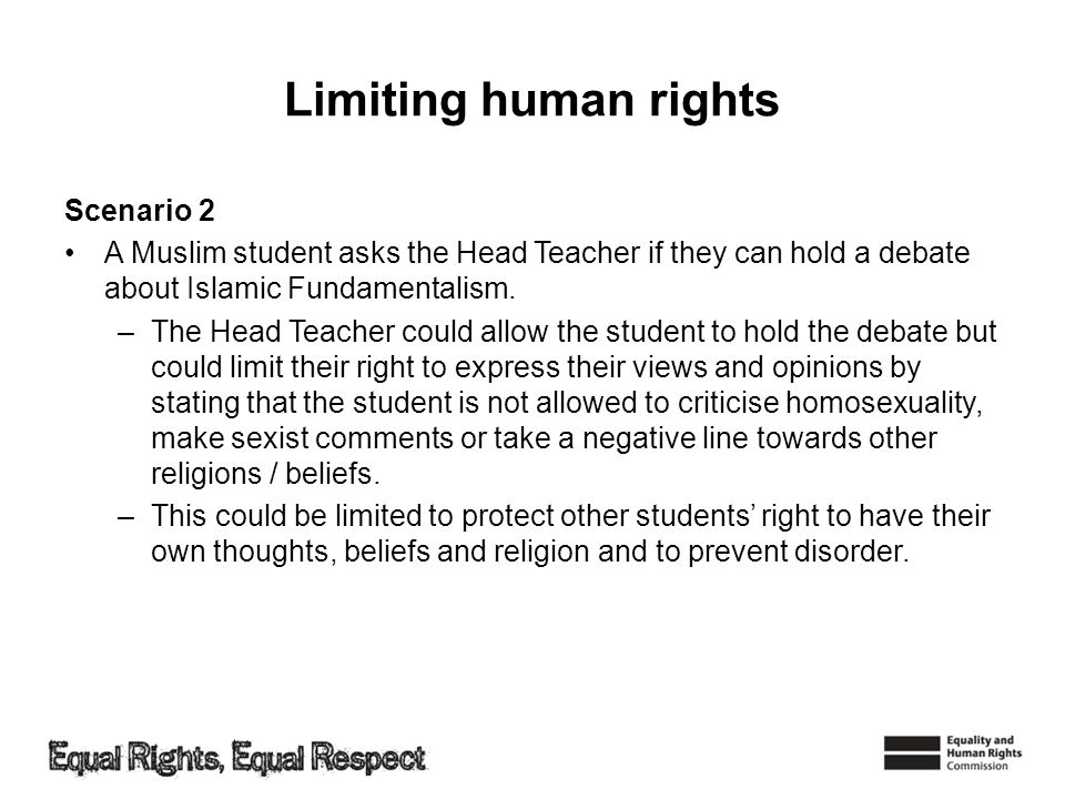 Limiting human rights Scenario 2