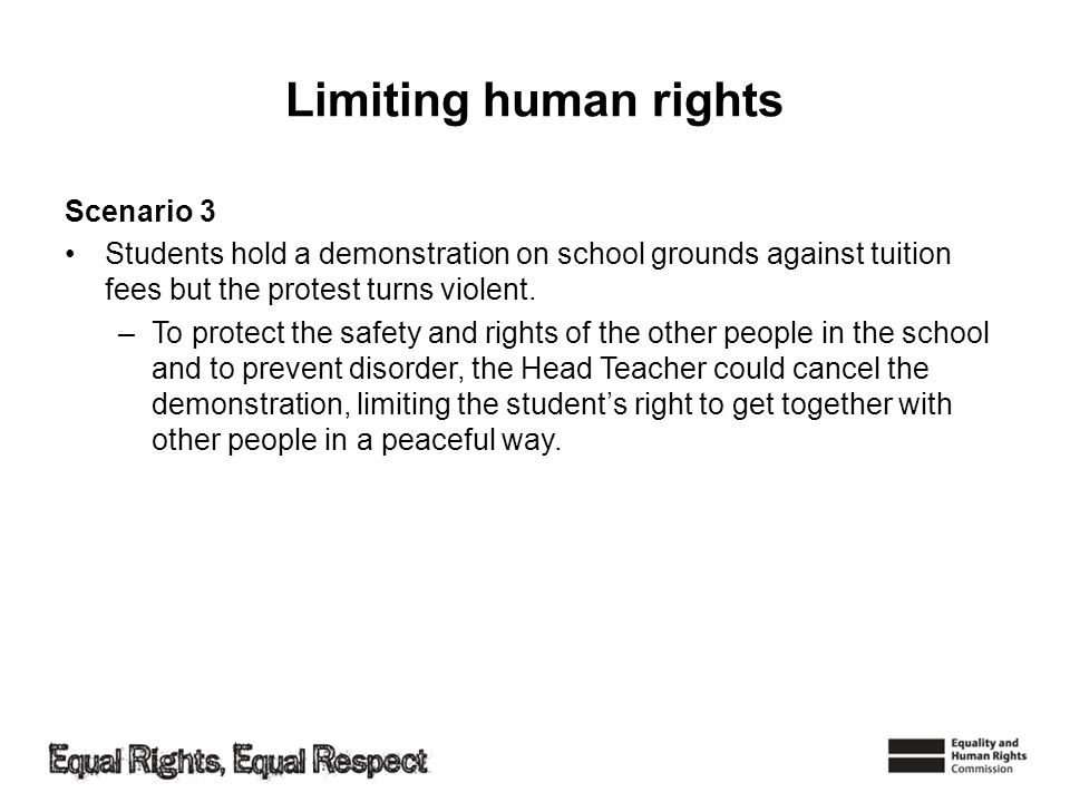 Limiting human rights Scenario 3