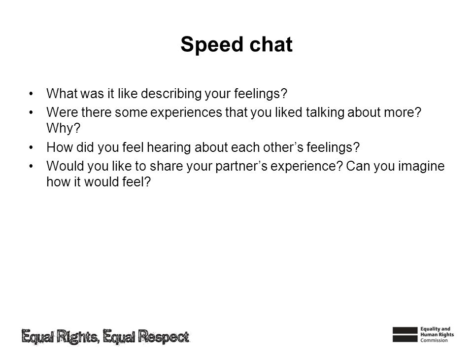 Speed chat What was it like describing your feelings