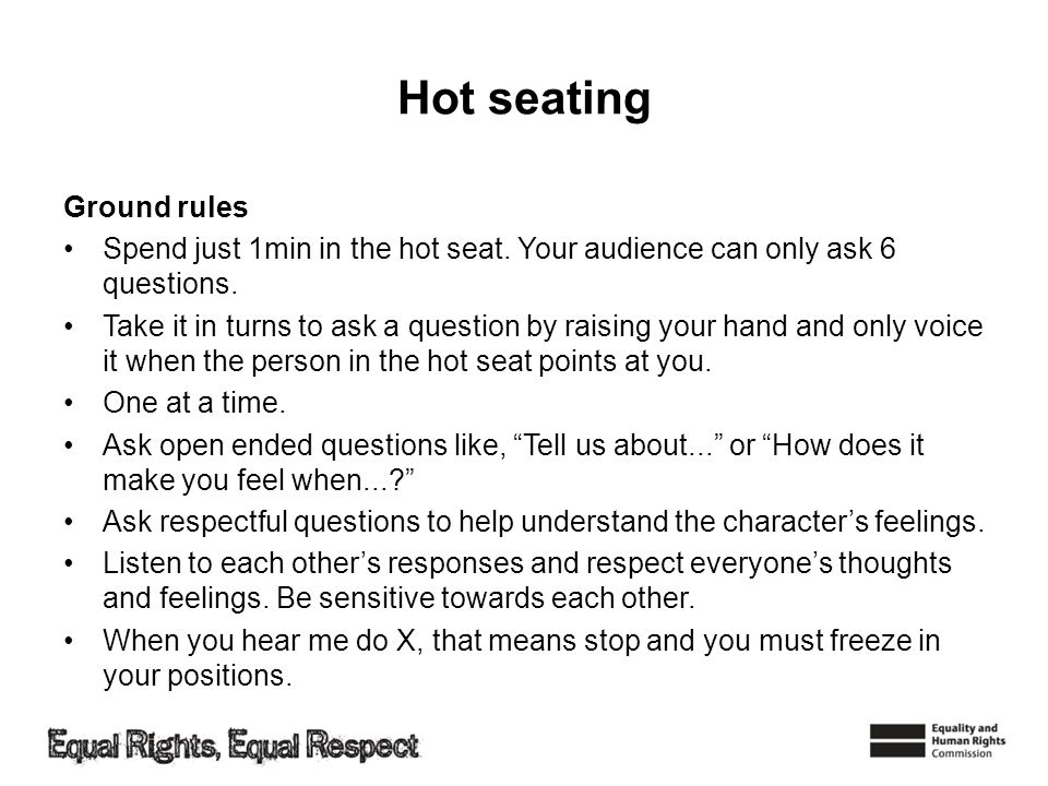 Hot seating Ground rules