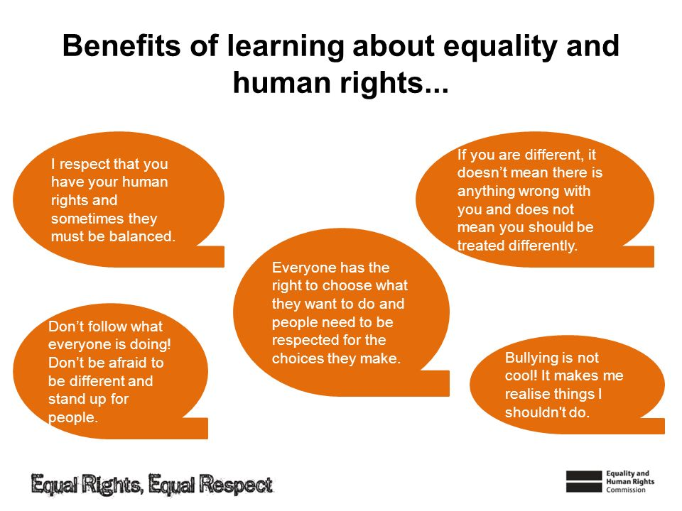 Benefits of learning about equality and human rights...