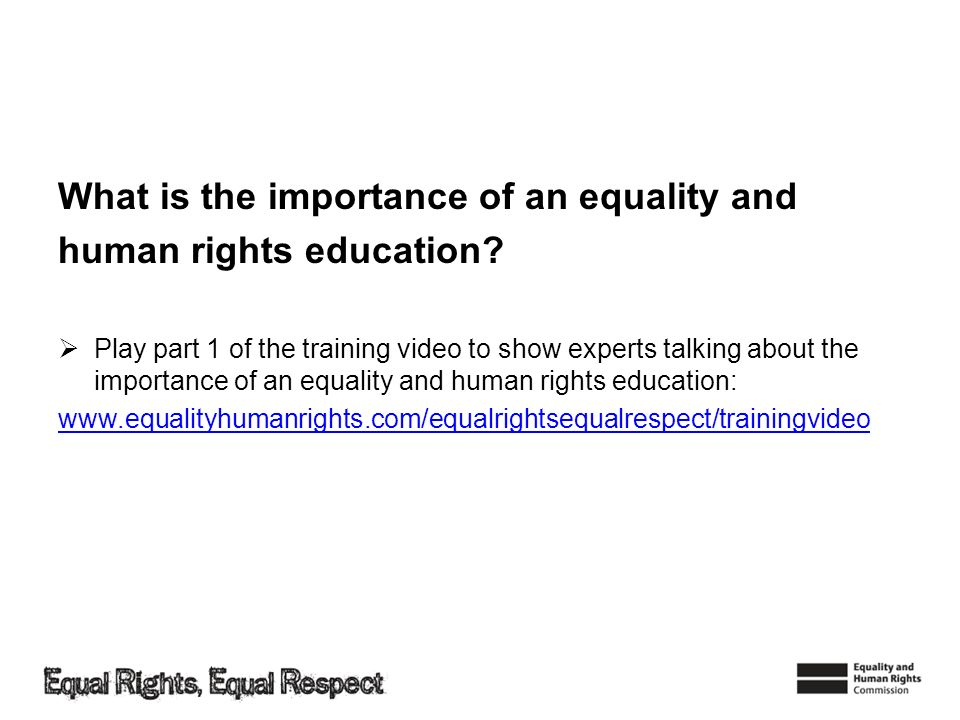 What is the importance of an equality and human rights education