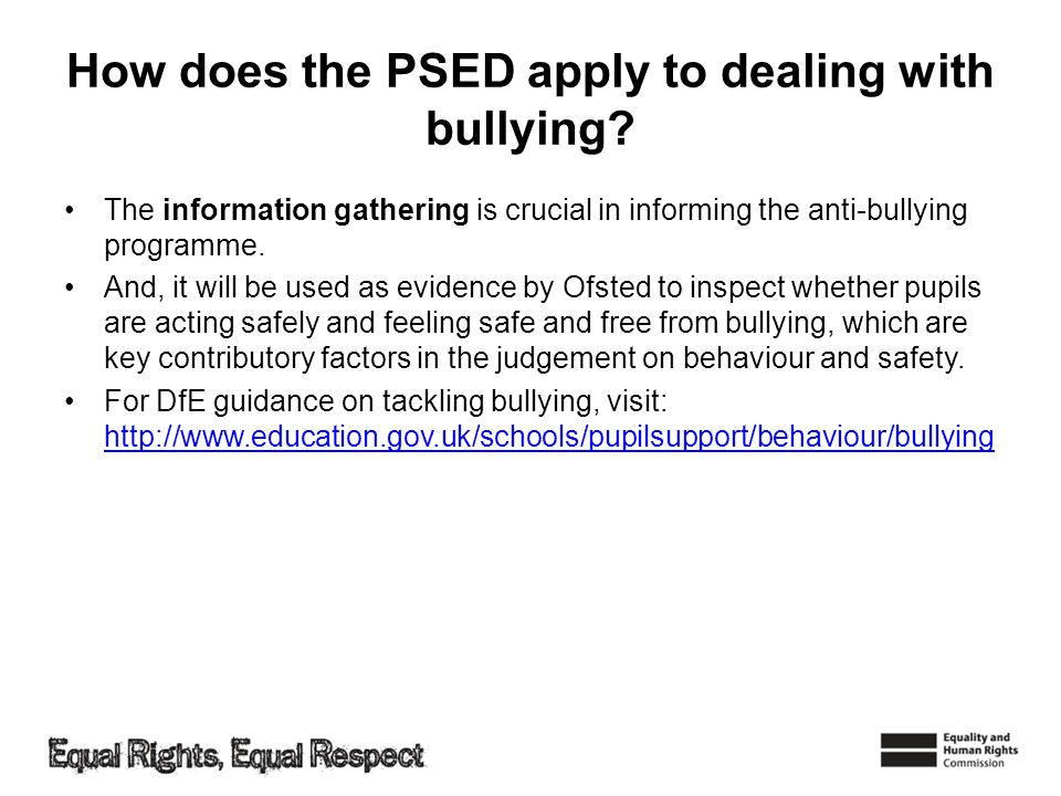 How does the PSED apply to dealing with bullying