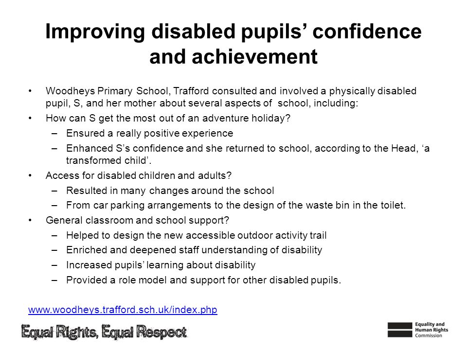 Improving disabled pupils' confidence and achievement