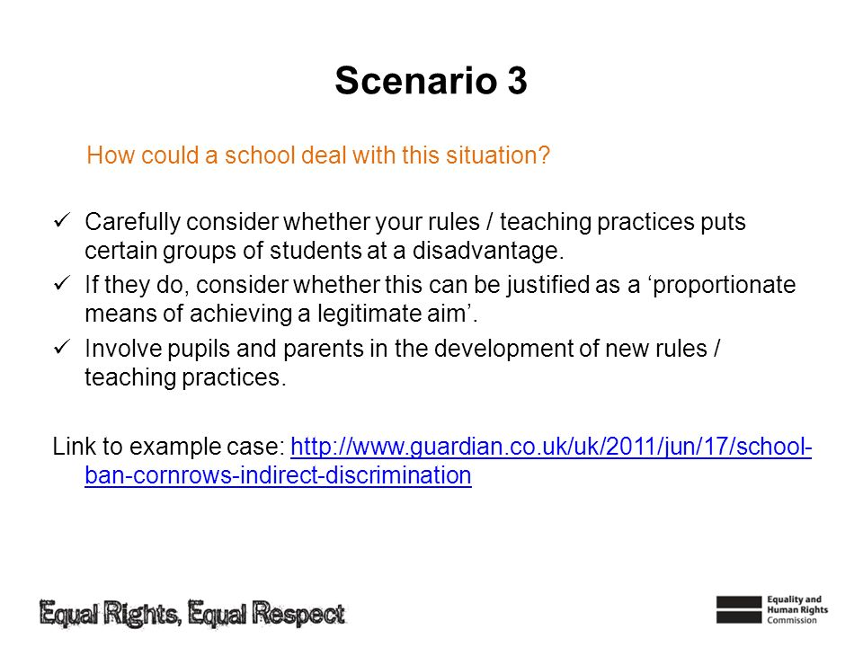 Scenario 3 How could a school deal with this situation