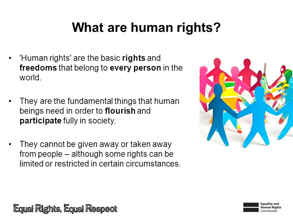 What are human rights Human rights are the basic rights and freedoms that belong to every person in the world.