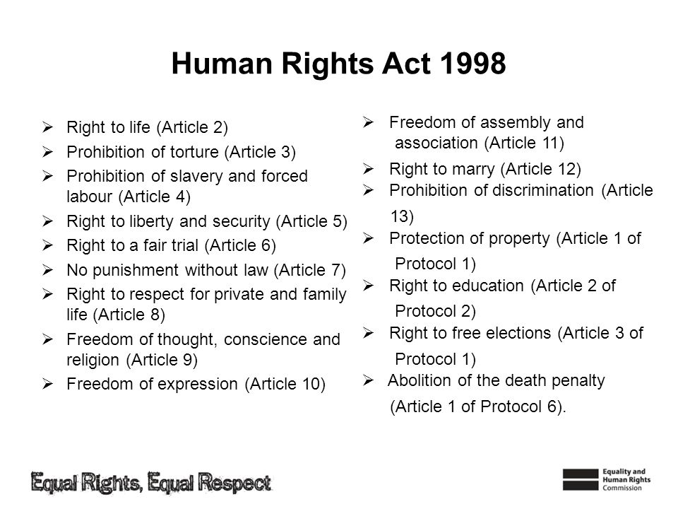 Human Rights Act 1998 Freedom of assembly and