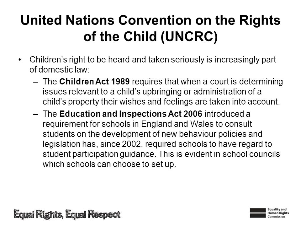 United Nations Convention on the Rights of the Child (UNCRC)