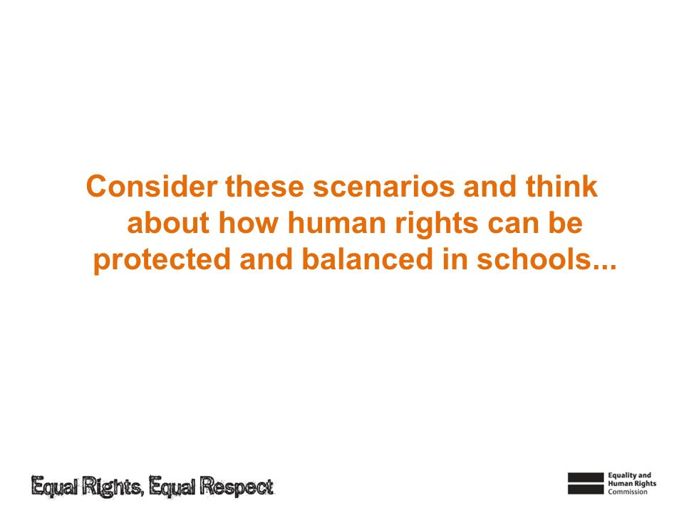Consider these scenarios and think about how human rights can be protected and balanced in schools...