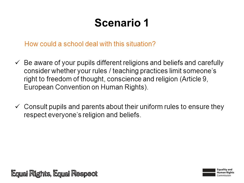 Scenario 1 How could a school deal with this situation
