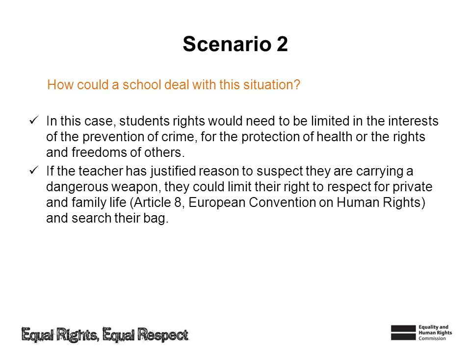 Scenario 2 How could a school deal with this situation